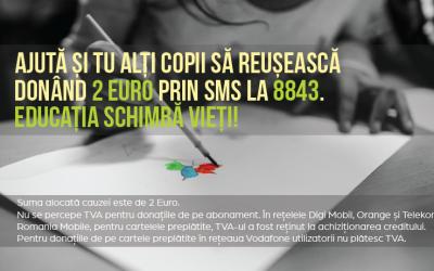 Un SMS de 2 euro la 8843 și ajuți 45 de copii fără posibilități financiare din Cluj-Napoca